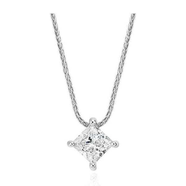 Blue Nile - Signature Princess Cut Floating Diamond Solitaire Pendant in Platinum 1