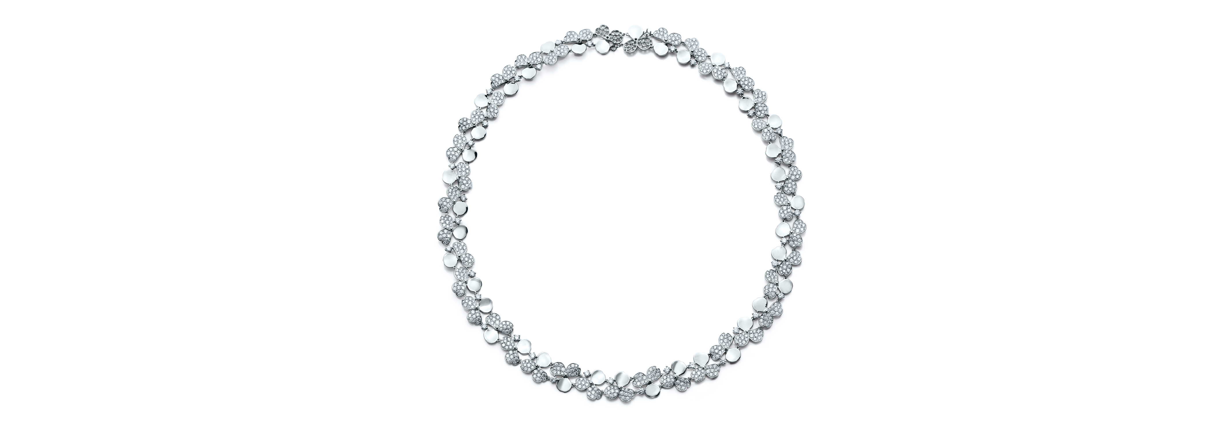 Tiffany Paper Flowers™ diamond cluster necklace in platinum
